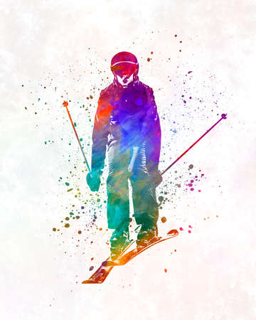Woman skier skiing jumping 01 in watercolor