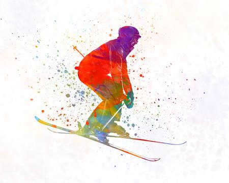 Woman skier skiing jumping 02 in watercolor
