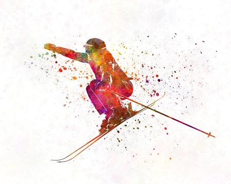 Woman skier skiing jumping 03 in watercolor 版權商用圖片