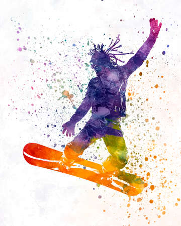 Young snowboarder man 01 in watercolor