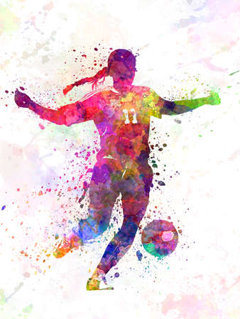 Girl playing soccer football player silhouette