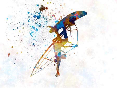 Young man surfer in watercolor 版權商用圖片