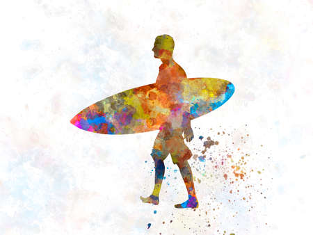 surfer ported board in watercolor 版權商用圖片