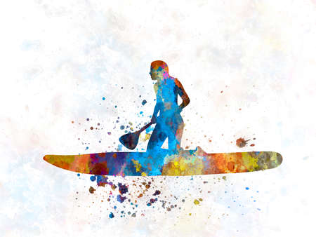 Young man practicing paddle surfing in watercolor