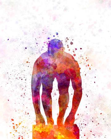 swimmer in watercolor