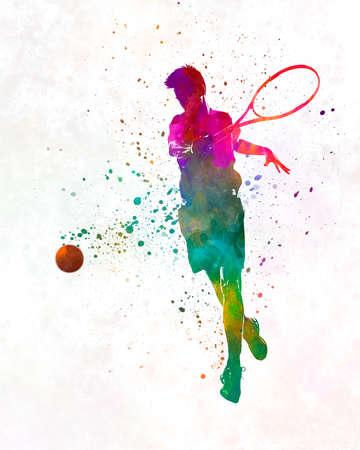 Man tennis player 01 in watercolor
