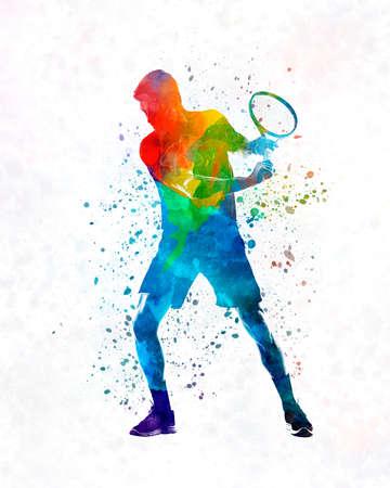 Man tennis player 02 in watercolor