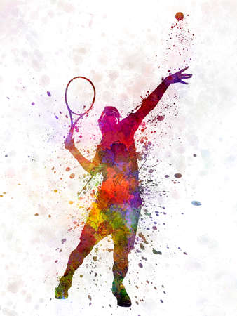 tennis player at service serving silhouette 01