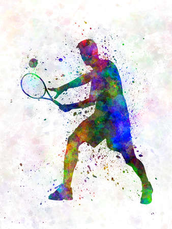 tennis player in silhouette 01