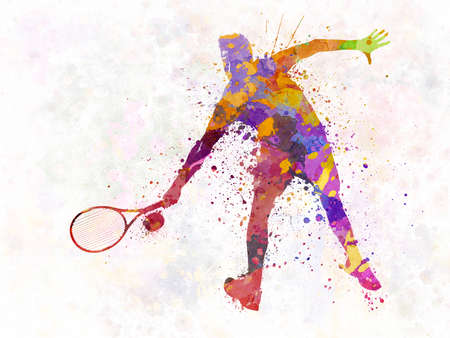 tennis player in silhouette 02 版權商用圖片