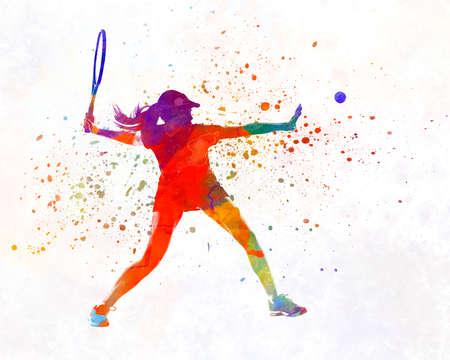 Woman tennis player 01 in watercolor 版權商用圖片