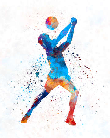 Volley ball player man 01 in watercolor