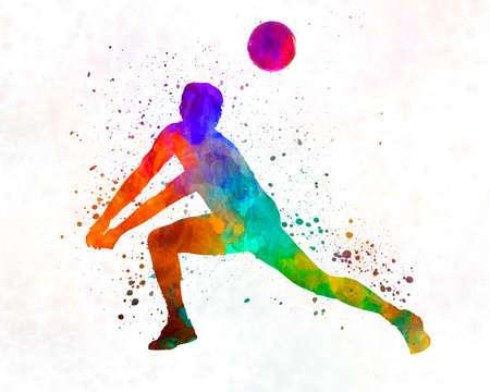Volley ball player man 03 in watercolor