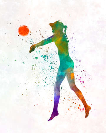 Woman beach volley ball player 02 in watercolor 版權商用圖片