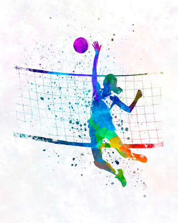 Woman volleyball player in watercolor 版權商用圖片
