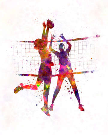 Women volleyball players in watercolor 版權商用圖片