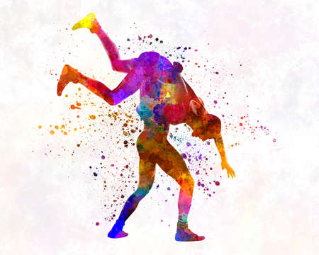 Wrestlers wrestling men 03 in watercolor