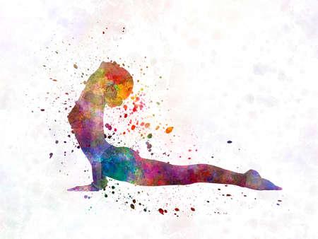 Yoga woman in watercolor splatter 版權商用圖片