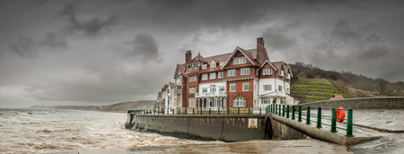 north yorkshire: Sandsend is a small fishing village, near to Whitby in the Scarborough district of North Yorkshire, England. Stock Photo