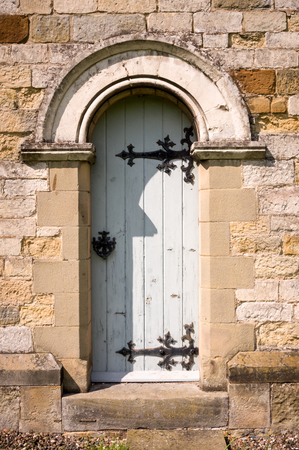 all weather: Old English Church Door Stock Photo