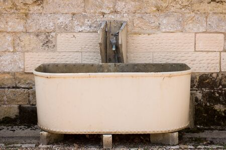 trough: Steel Horse Water Trough Stock Photo