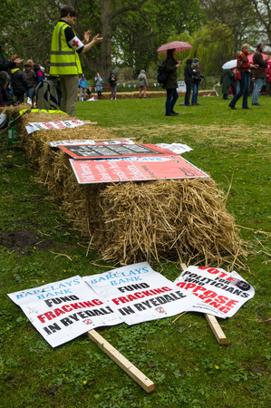 environmentalists: Anti-fracking march in Malton - Saturday 25th April 2015.  Ryedale protesters march in Malton, North Yorkshire, to voice their concerns over fracking.