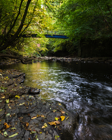 beck: A early autumn view of the blue bridge crossing Skelton Beck, Cleveland Way, Saltburn,North Yorkshire.