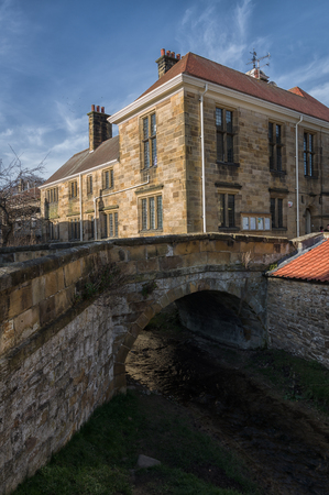 north yorkshire: Market Place bridge over the strem in Helmsley North Yorkshire on a sunny spring day.