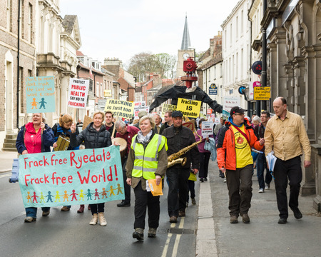 protesters: Anti-fracking march in Malton - Saturday 25th April 2015.  Ryedale protesters march in Malton, North Yorkshire, to voice their concerns over fracking.