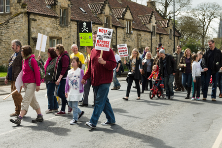 dissent: Anti-fracking march in Malton - Saturday 25th April 2015.  Ryedale protesters march in Malton, North Yorkshire, to voice their concerns over fracking.