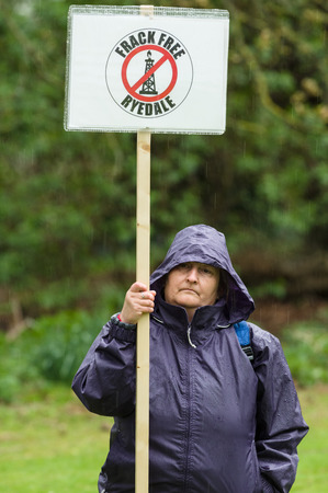 protestor: Anti-fracking march in Malton - Saturday 25th April 2015.  Ryedale protesters march in Malton, North Yorkshire, to voice their concerns over fracking.