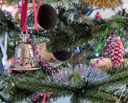 stock photo tradition christmas tree decorations silver bell from norway - Christmas Tree Bell Decoration
