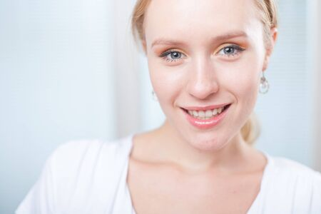 closeup portrait of a cute happy young woman smiling Stock Photo - 14649425