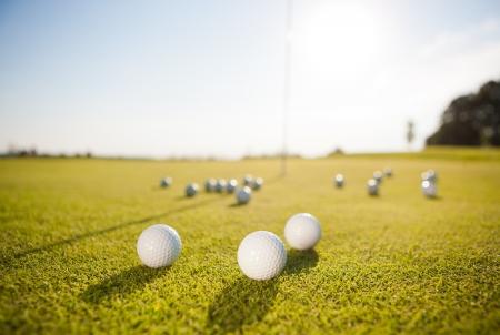 closeup shot of golf balls on green golf course