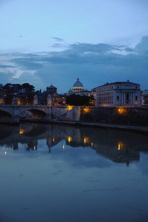 view of rome: tiber river, st.peters basilica and some other stuff Stock Photo