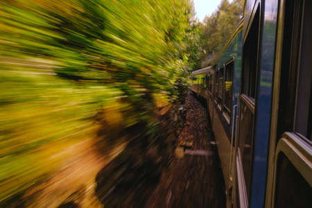 train moving in the nature, motion blur Stock Photo