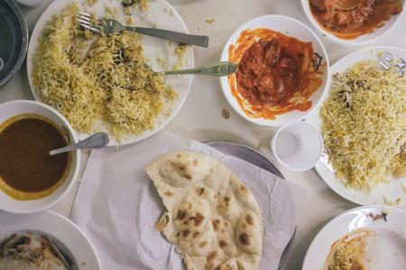 overhead shot of a messy pakistani food