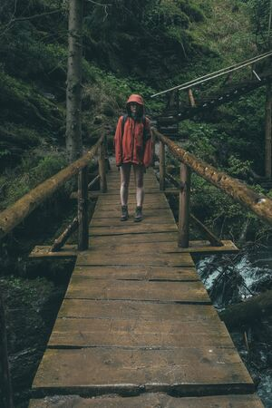 hiker walking through wilderness  in heavy rain wearing rainshell jacket Stock Photo - 77228320