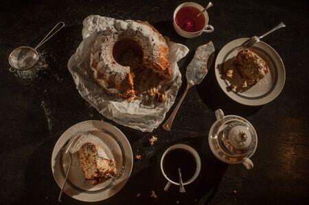 marble cake, coffee and tea for breakfast, morning sunrise light