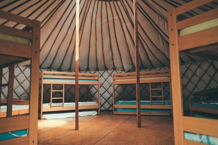 traquility: beds inside the yurt (tent)