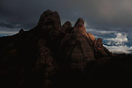 massive of montserrat mountain in sunset light