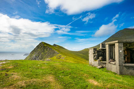 An old house on a hill at Keem bay, Achill, Co. Mayo.