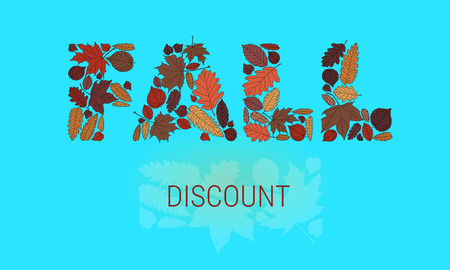 Fall Typographic Illustration with Colorful Leaves Ilustrace