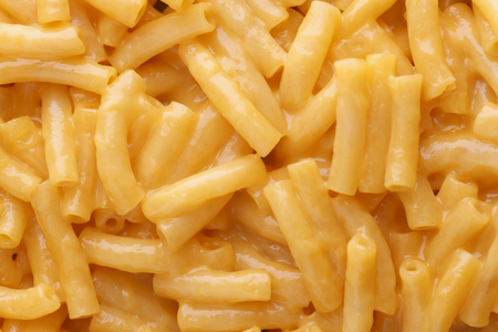 A detail of macaroni and cheese