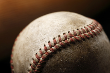 A close-up image of a worn baseball  Banco de Imagens