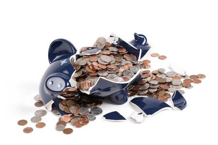 A close up view of a broken piggy bank.