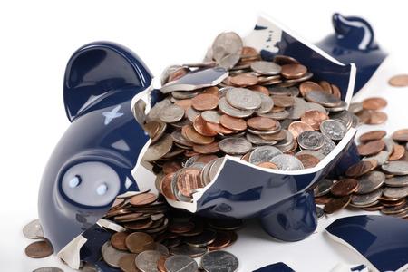 dime: Broken Piggy Bank Stock Photo