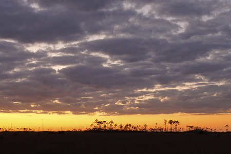 A sunset over the Florida Everglades Stock Photo