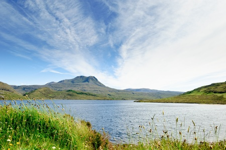 View on a typical scottish lake, Loch Luichart, Scotland
