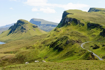 View on the beautiful rock formations of the Quiraing, Isle of Skye, Scotland photo